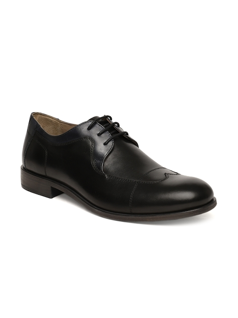 Language Men Black Leather Brogues