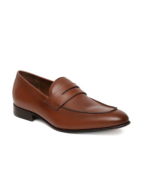 Language Men Tan Leather Formal Slip-Ons