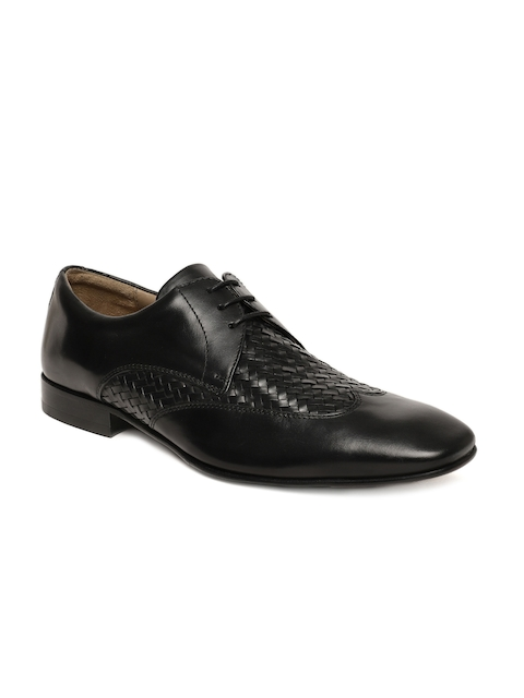 Language Men Black Woven Design Leather Derbys