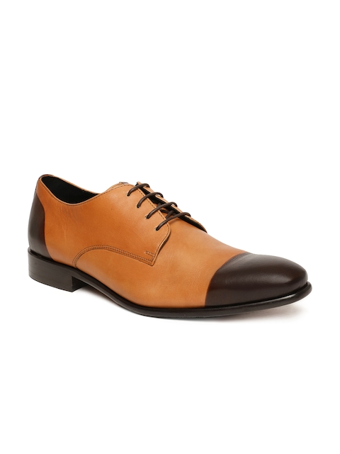 Language Men Tan Brown Leather Derby Formal Shoes