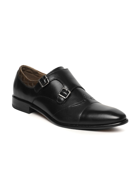 Language Men Black Genuine Leather Monk Shoes