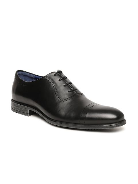 Language Men Black Genuine Leather Formal Oxfords