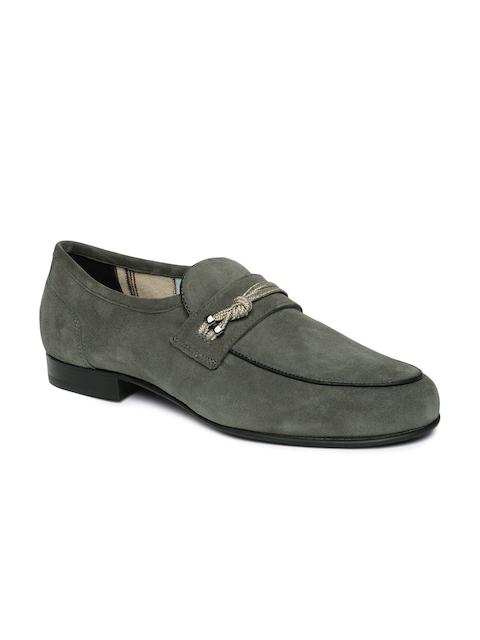 Language Men Grey Leather Semi-Formal Slip-Ons