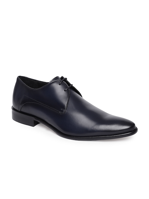 Language Men Navy Leather Oxford Formal Shoes