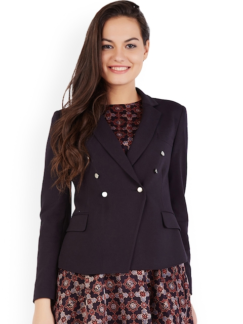 Allen Solly Woman Navy Blue Solid Double-Breasted Formal Blazer