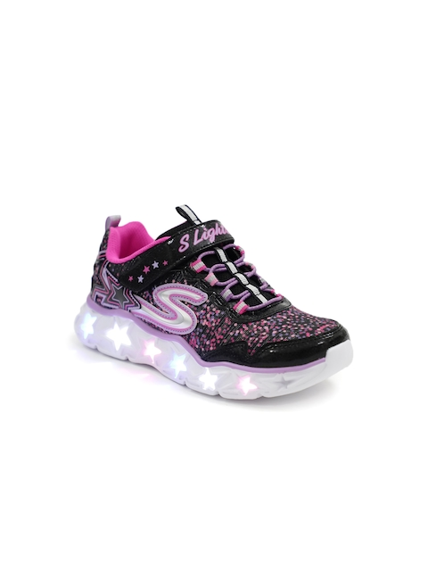 Skechers Girls Black Galaxy Lights Sneakers With LED Lights