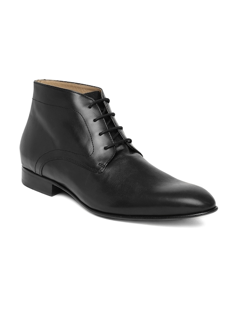 Language Men Black Leather Mid-Top Flat Boots
