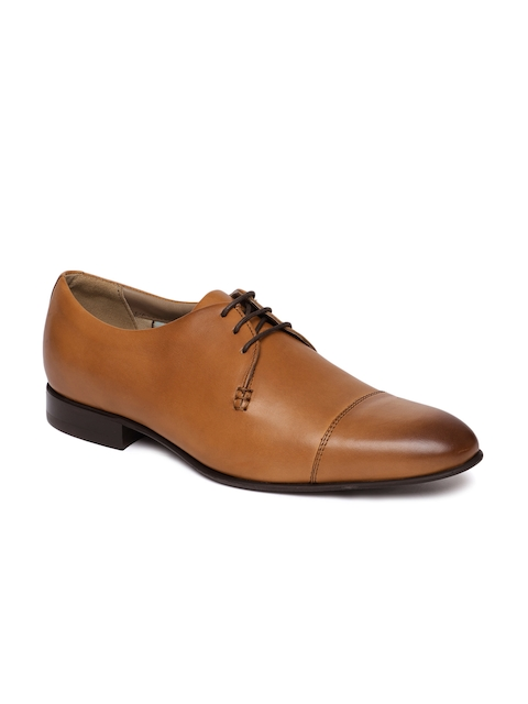 Language Men Tan Brown Leather Formal Derby Shoes