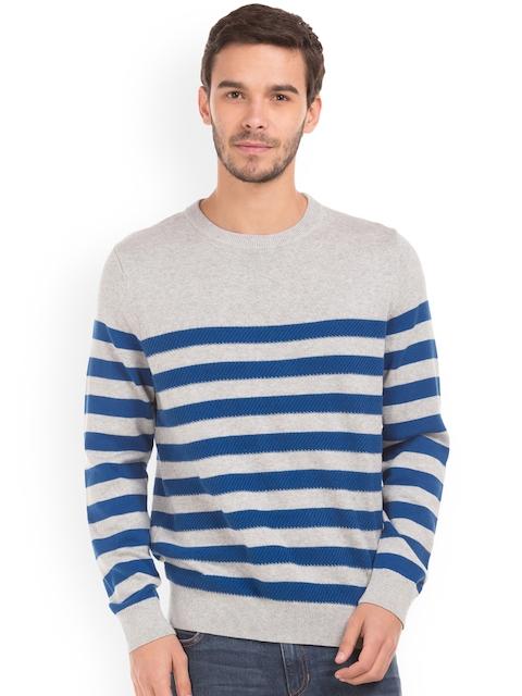 Nautica Men Grey & Blue Striped Pullover