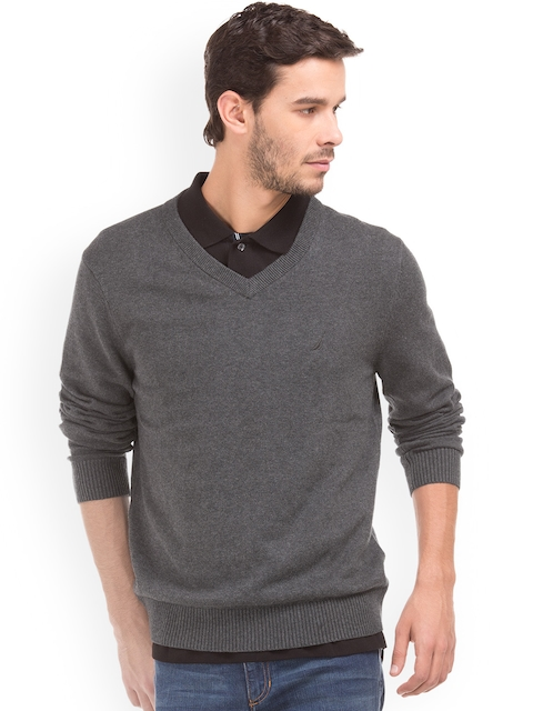 Nautica Men Grey Solid Pullover