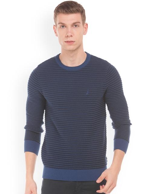 Nautica Men Blue Striped Crew Neck Sweater