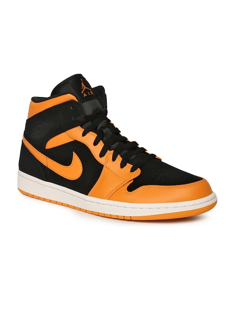 Nike Men Black Suede AIR JORDAN 1 Mid-Top Basketball Shoes