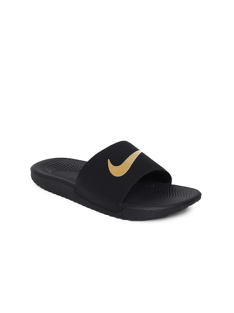 Nike Boys Black Solid Sliders NIKE KAWA SLIDE (GS/PS)