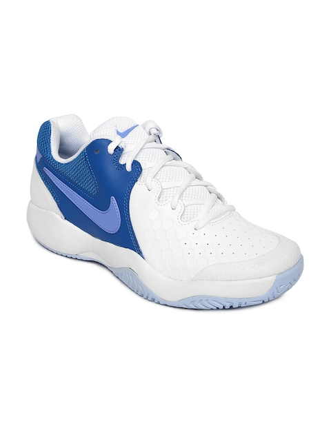 Nike Women White & Blue NIKE AIR ZOOM RESISTANCE Tennis Shoes