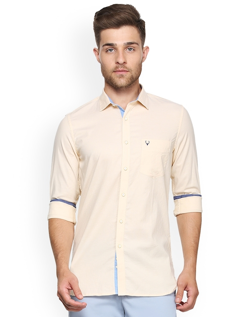 Allen Solly Men Beige Slim Fit Solid Casual Shirt