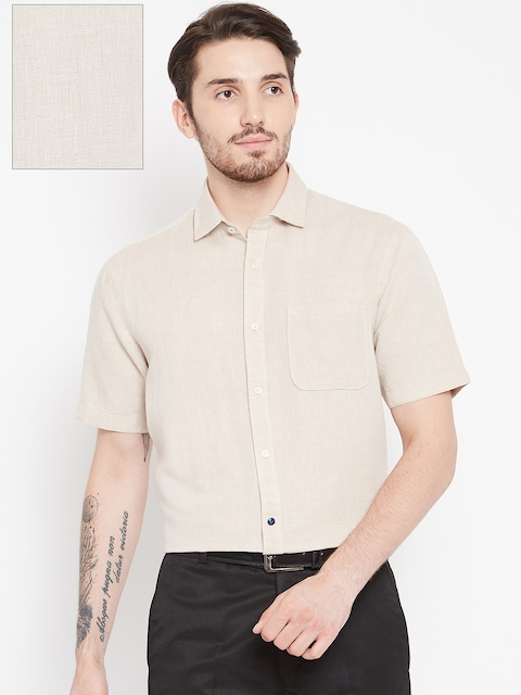 Blackberrys Men Beige Slim Fit Solid Casual Shirt