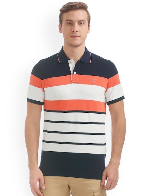 GANT Men Blue & White Striped Polo Collar T-shirt
