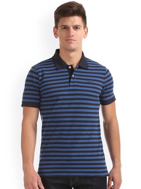 GANT Men Blue Striped Polo Collar T-shirt