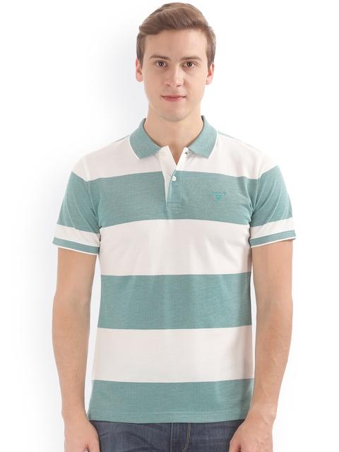 GANT Men Green & White Striped Polo Collar T-shirt