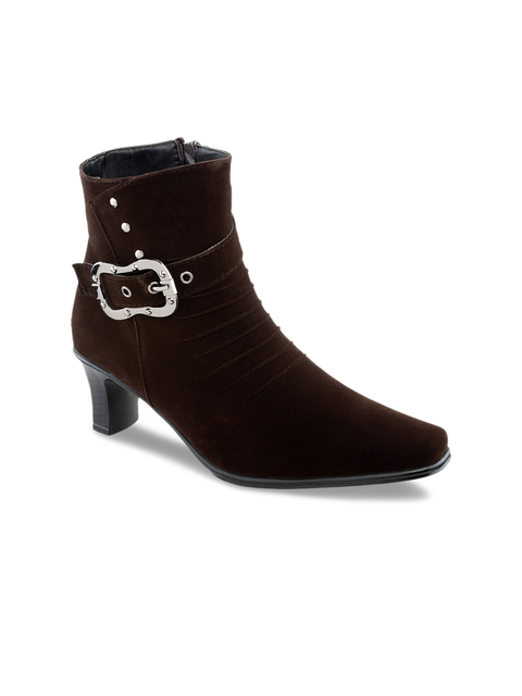 SHUZ TOUCH Women Brown Solid Heeled Boots