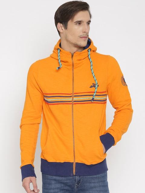 Jn Joy Men Orange Hooded Sweatshirt