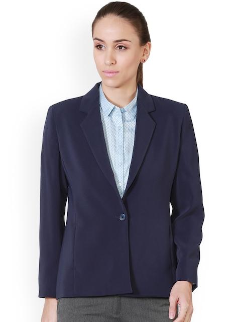 Allen Solly Woman Navy Blue Solid Formal Blazer