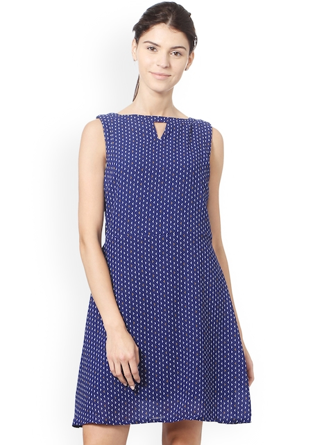 Allen Solly Woman Women Blue Printed Fit and Flare Dress