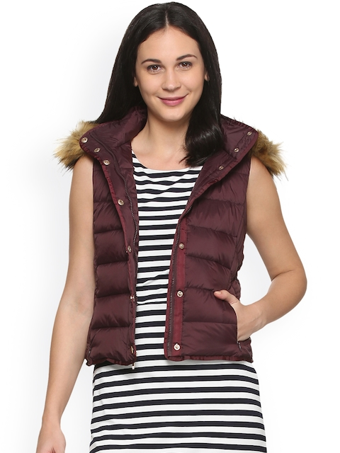 Allen Solly Woman Burgundy Solid Quilted Jacket