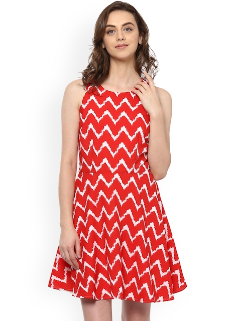 Allen Solly Woman Women Red Printed Fit and Flare Dress