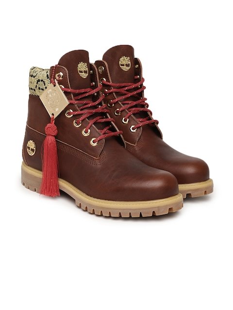 Timberland Men Brown Solid Leather Mid-Top Flat Boots