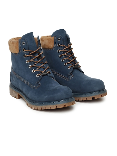 Timberland Men Blue Solid 6IN PREM Leather High-Top Flat Boots