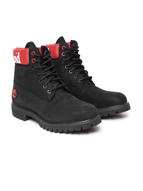 Timberland Men Black 6 PREM Solid Leather High-Top Flat Boots