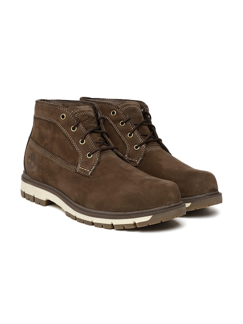 Timberland Men Brown Solid Leather Mid-Top RADFORD WP CHKA MD BR Flat Boots