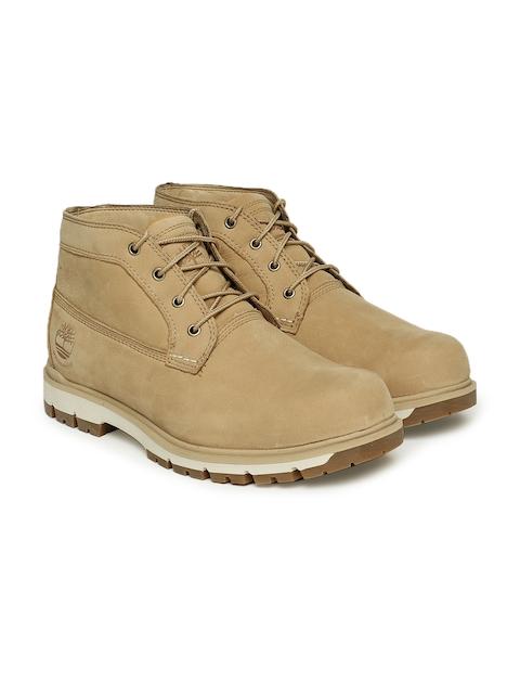 Timberland Men Beige Radford WP CHKA LT BRN Leather Flat Boots