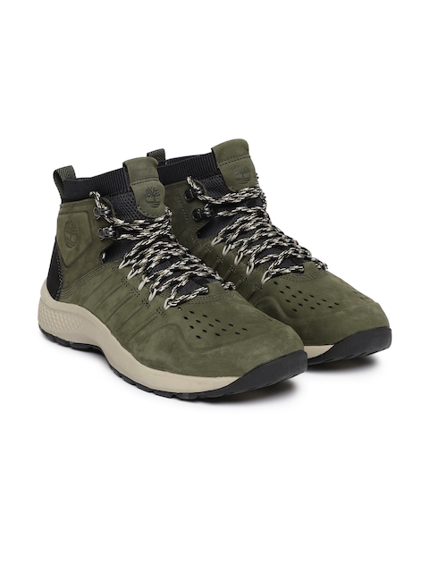 Timberland Men Green Leather Flyroamtrail Waterproof Boots