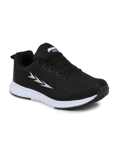 Columbus Men Black and White Running Shoes