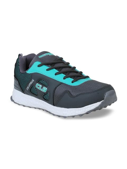 Columbus Men Grey and Green Running Shoes