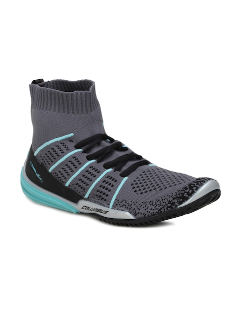 Columbus Men Figgo Grey Aqua Mesh High-Top Running Shoes