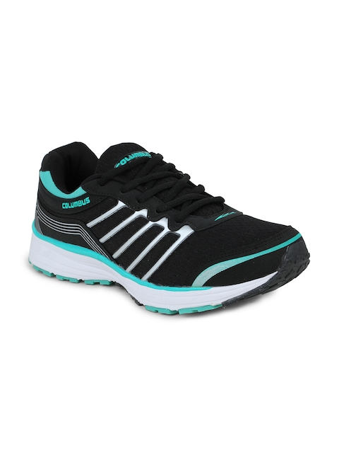 Columbus Men Black and Green Running Shoes