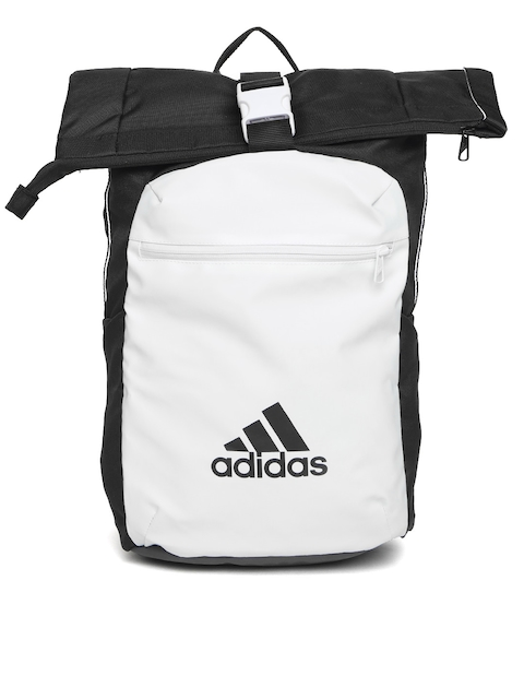 Adidas Unisex White & Black ATHL Core Colourblocked Backpack