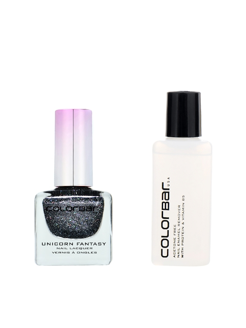 Colorbar Pack of 2 Acetone Free Nail Enamel Remover & Tricorn Night Nail Lacquer 6