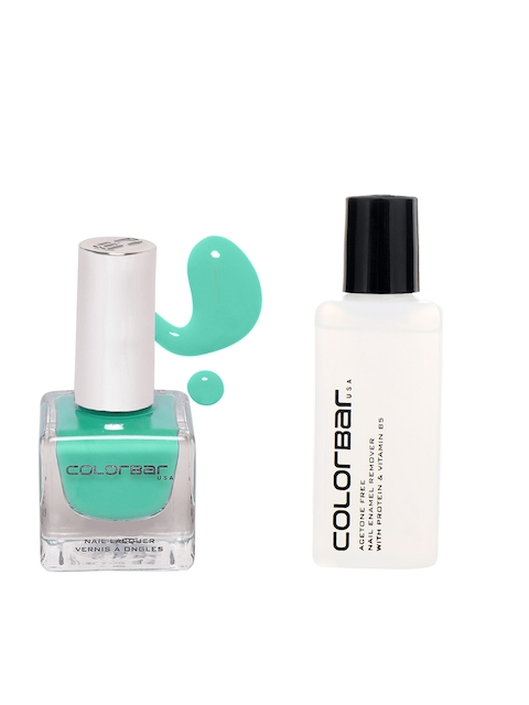 Colorbar Pack of 2 Acetone Free Nail Enamel Remover & Magical Green Luxe Nail Lacquer 40