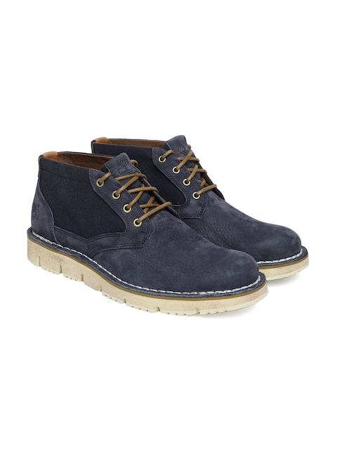 Timberland Men Blue WESTMORE Leather Mid-Top Flat Boots