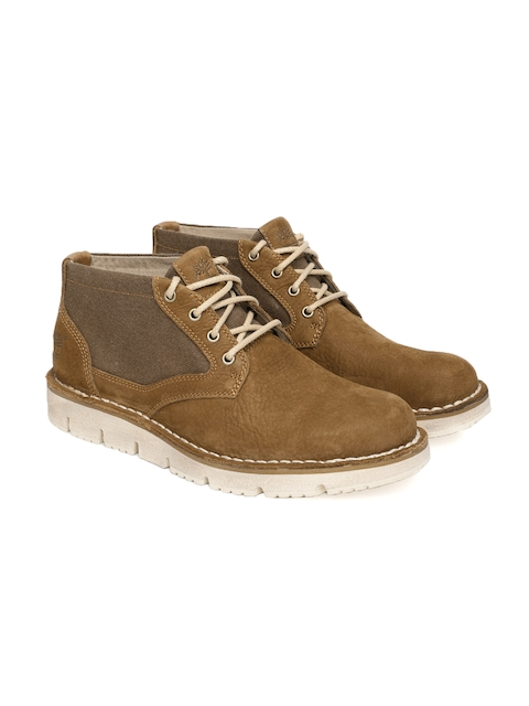 Timberland Men Brown Westmore LF Leather Mid-Top Chukka Boots