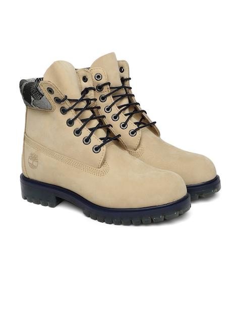 Timberland Men Beige 6 Prem Leather High-Top Boots