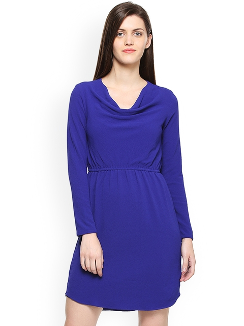 Van Heusen Woman Women Blue Solid Fit and Flare Dress