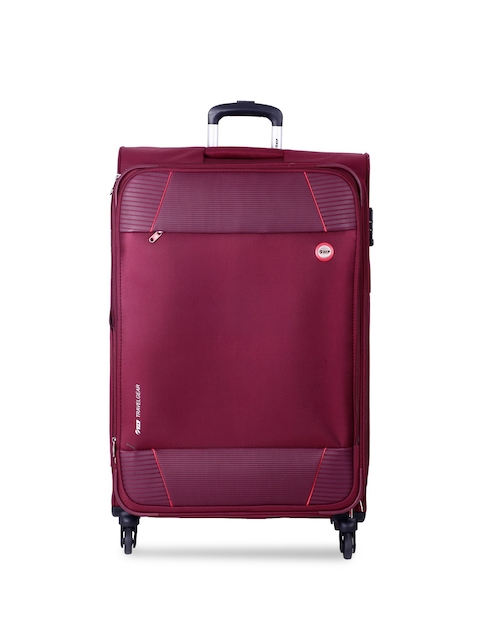 VIP Unisex Burgundy Solid Large Trolley Suitcase