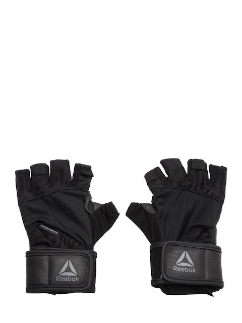 Reebok Unisex Black & Charcoal Grey OS U Textured Fringerless Training Wrist Gloves