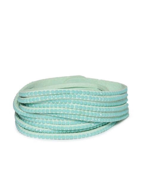Ayesha Turquoise Blue Fabric Wraparound Bracelet