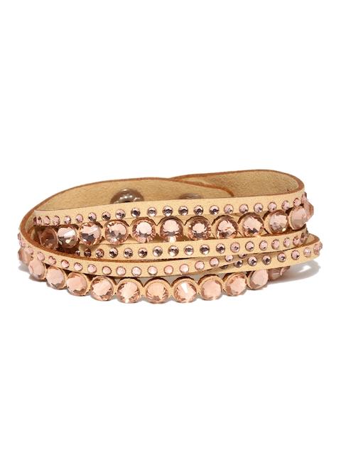 Ayesha Beige Fabric Wraparound Bracelet